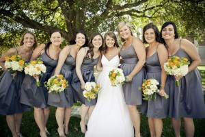 gray bridesmaids dresses and yellow ranunculus bouquets in jackson mississippi
