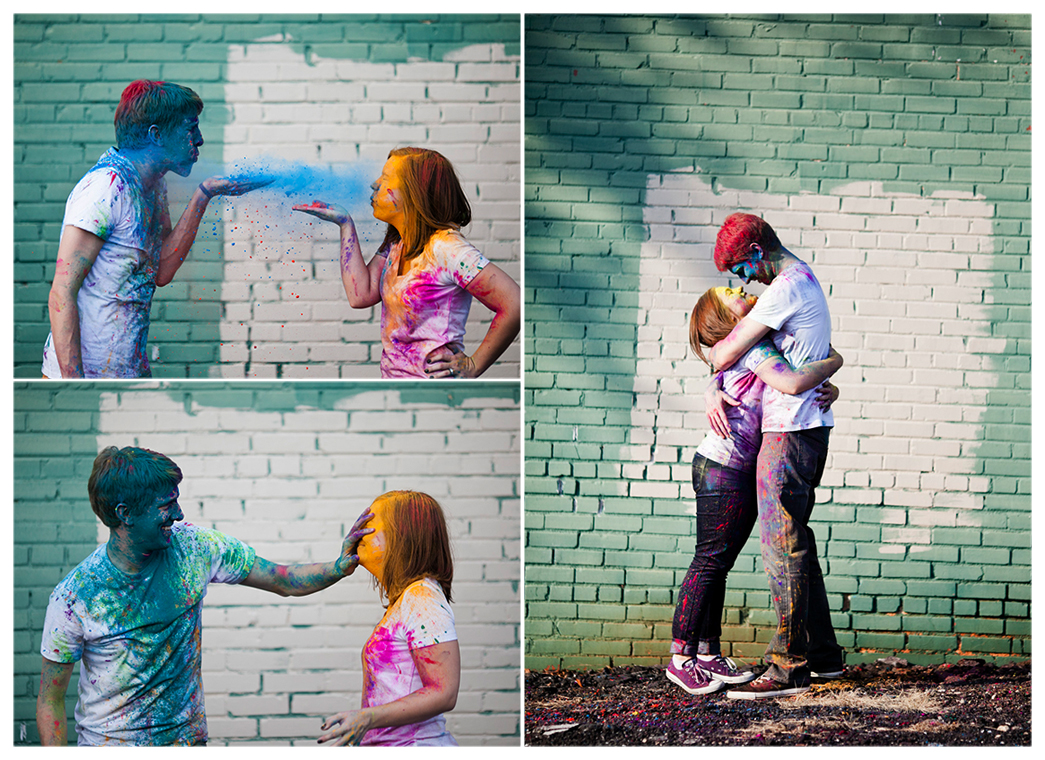 holi festival color powder engagement