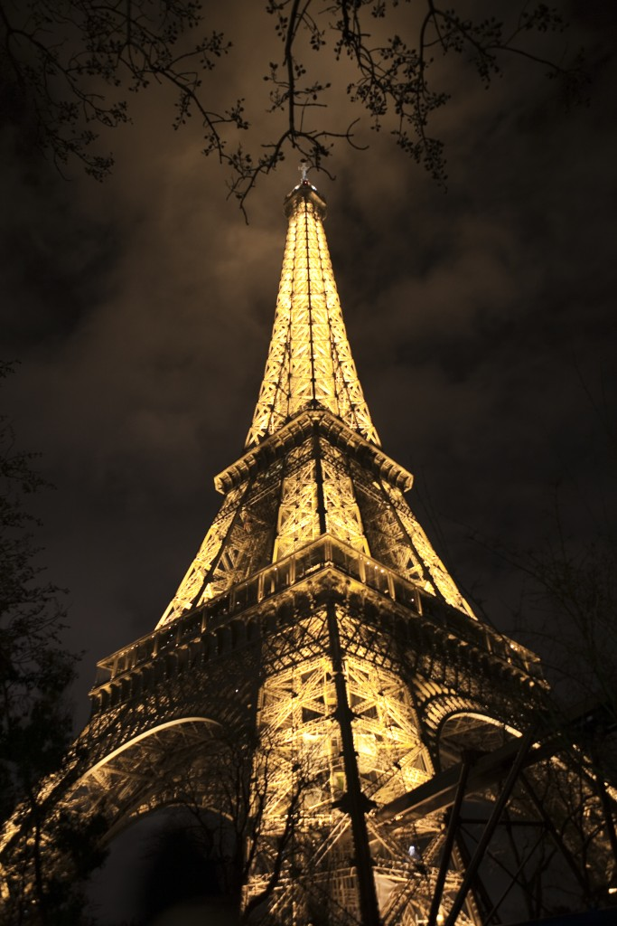 the eiffel tower at night in the winter