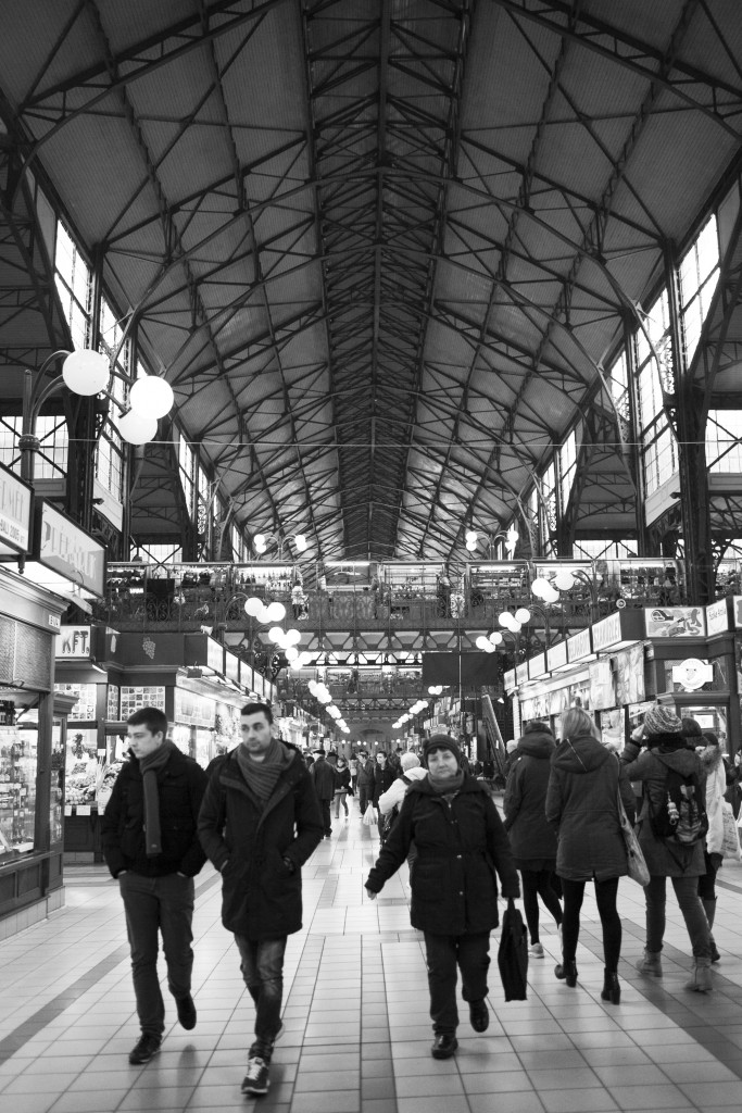 black and white image of the indoor market in budapest hungary
