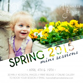 a photo graphic announcing nashville 2015 spring mini sessions
